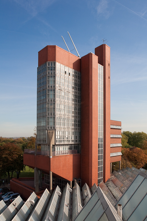 Detail of Engineering Building, Leicester University by James Stirling Architect