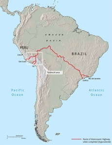Location of the Interoceanic Highway in Latin America