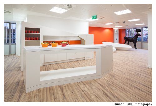 Business bar separates reception from meeting rooms