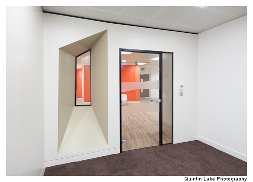 Private spaces have windows visually connecting to the rest of the office