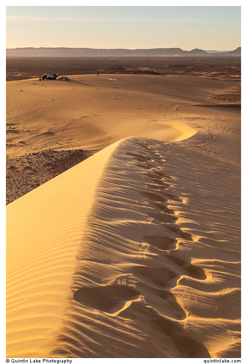 Footprints on a sand dune above camp near Bahariya Oasis, Western Desert, Egypt