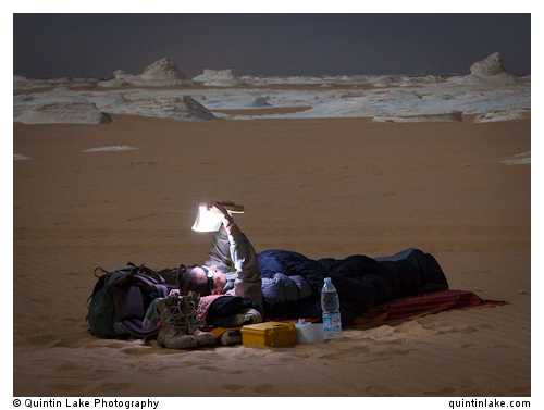 Sam McConnell prepares for a night under the stars, White Desert