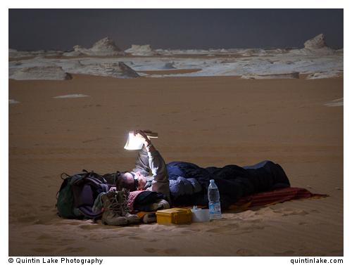 Sam McConnell prepares for a night under the stars, White Desert