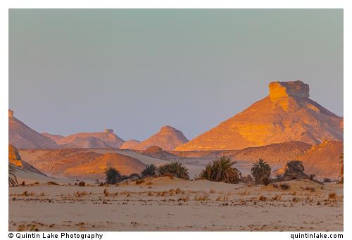 Monoliths (inselbergs) of the White Desert at sunset, Egypt