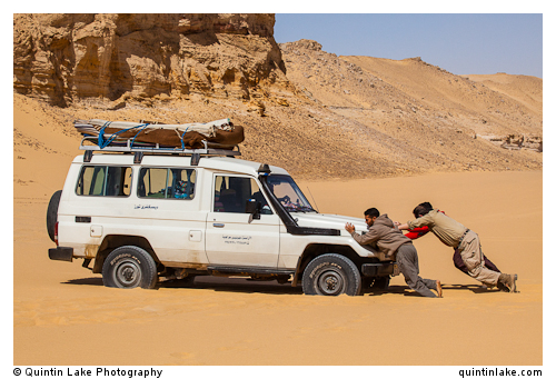 4x4 Landcruiser stuck in the sand in the Western Desert, Egypt