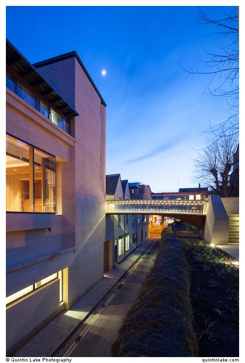 Bridge & Harold Lee Room at dusk