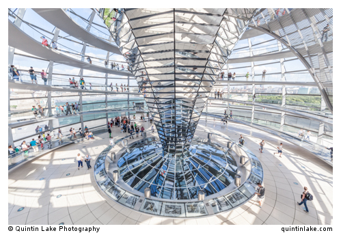 Helical steel staircase and light sculptor inside the Reichstag Dome