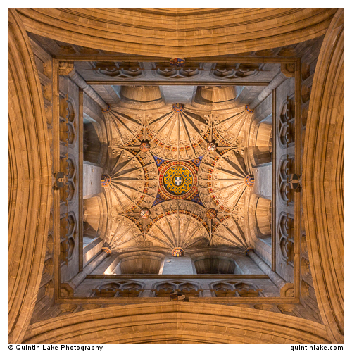 """Canterbury Cathedral. The western crossing, with a view of the fan vaulting in the """"Angel Steeple."""""""