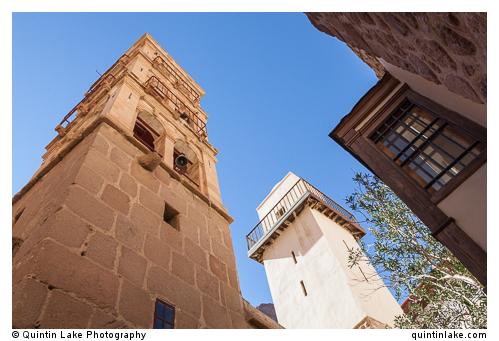 Bell tower (left) & Mosque Minaret (right) inside courtyard