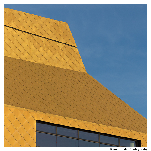 The Hive housing the Worcester Library, Clad in Golden Copper ti