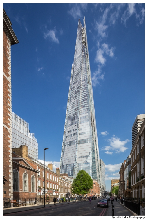 The Shard and clouds against blue sky seen from St Thomas, Stree