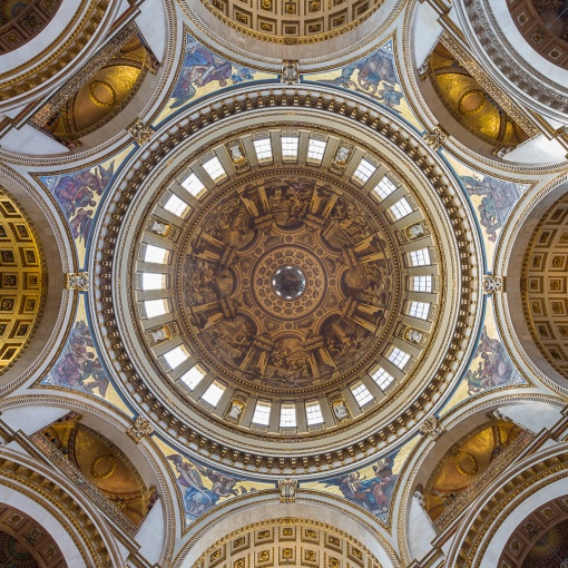 St Paul's Cathedral, interior of the dome showing James Thornhill's painting depicting eight scenes from the life of St Paul whilst continuing an illusion of the real architectural features.