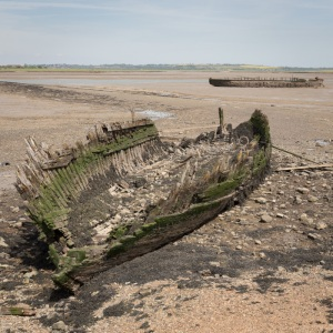 Wrecked barge in the Swale near Little Marson