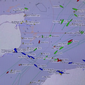 Automatic Identification System in South foreland lighthouse showing live ship movements in the English Channel, the world's busiest seaway, with over 500 ships passing per day. The map shows the  Goodwin Sands, a 16km sandbank where more than 2,000 ships are believed to have been wrecked.