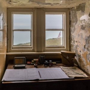 The desk in South Foreland Lighthouse used by Guglielmo Marconi during his work on radio waves, receiving the first ship-to-shore message from the East Goodwin lightship.