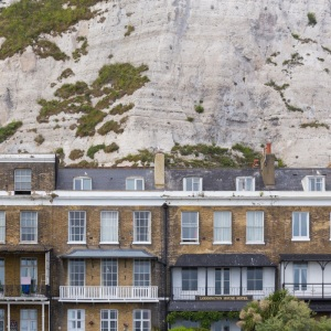 White cliffs below Dover Castle.