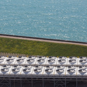 Channel Tunnel ventilation facility, Samphire Hoe, Dover.