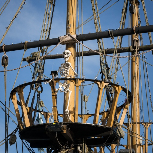 'Sid the Skeleton' Golden Hind replica, Brixham, Devon.