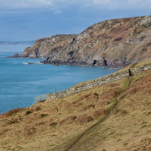 South West Coast Path to Cathole Point, Devon.