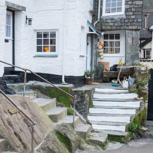 Cottage steps, Polperro, Cornwall.