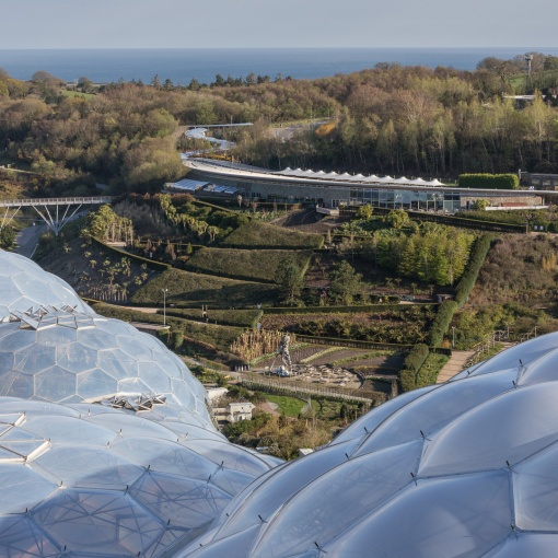 The Eden Project and St Austell Bay, Cornwall. Architect: Nicholas Grimshaw. Built 2000.