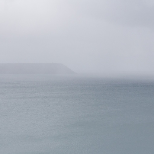 Dodman Point in rain, Cornwall.