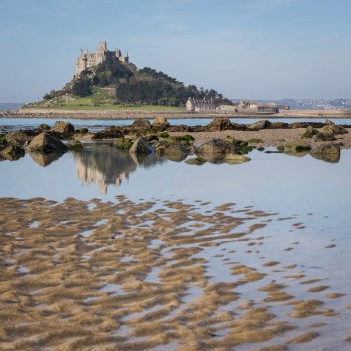 St Michael's Mount at low tide, Cornwall.