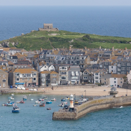 Smeaton's Pier and St Nicholas Chapel, St Ives, Cornwall.