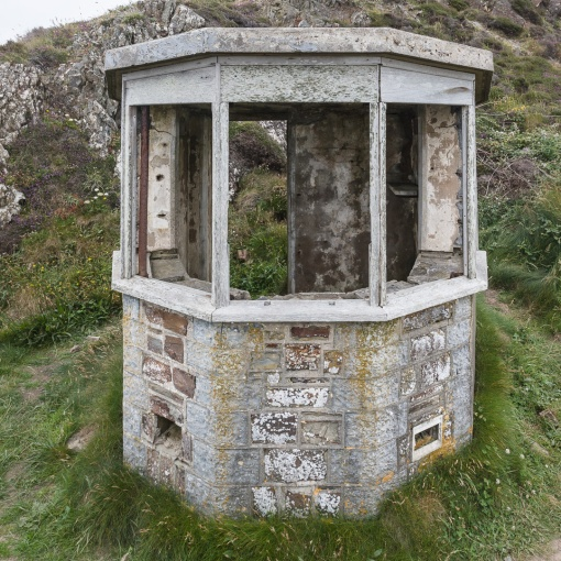 Ruined coast guard lookout on Higher Sharpnose point, Cornwall.