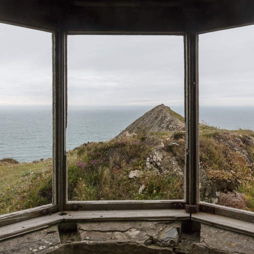 Interior of ruined coast guard lookout on Higher Sharpnose point, Cornwall.