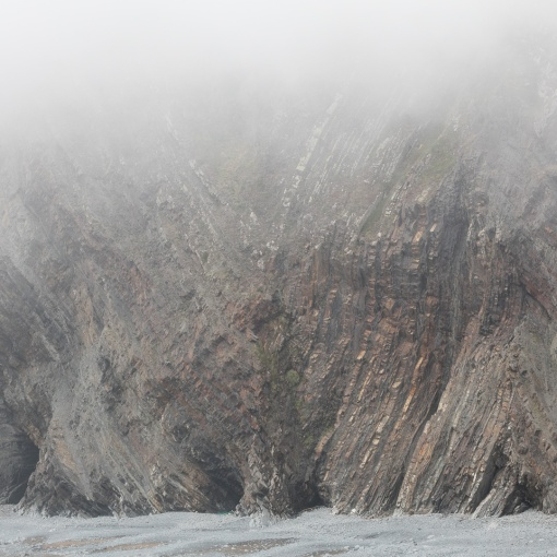 Warren Cliff in Mist from Hartland Quay, Devon.