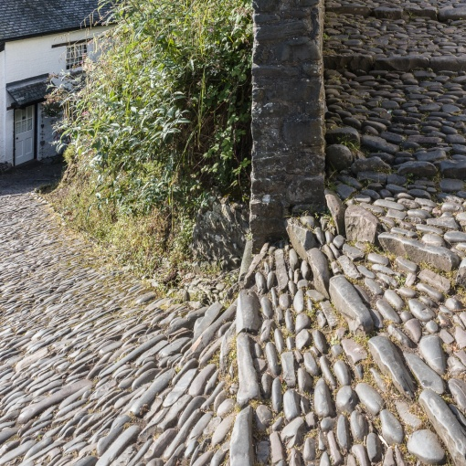 Cobbled main street, Clovelly, Devon.