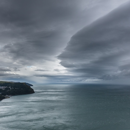 Weather front above Lynmouth, Devon.