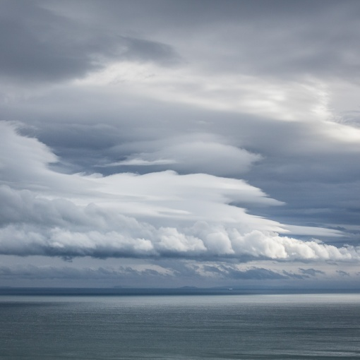 Weather front above Steep Holm and Brean Down from Exmoor, Somerset.