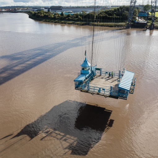 Gondola crossing the River Usk, Newport Transporter Bridge, Gwent.