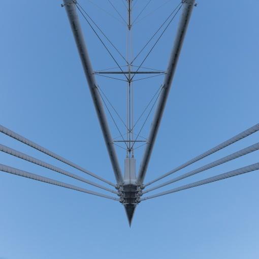Principality Stadium (formerly Millennium Stadium) structural mast, Cardiff. Architect: Bligh Lobb Sports Architecture. Engineer: WS Atkins.