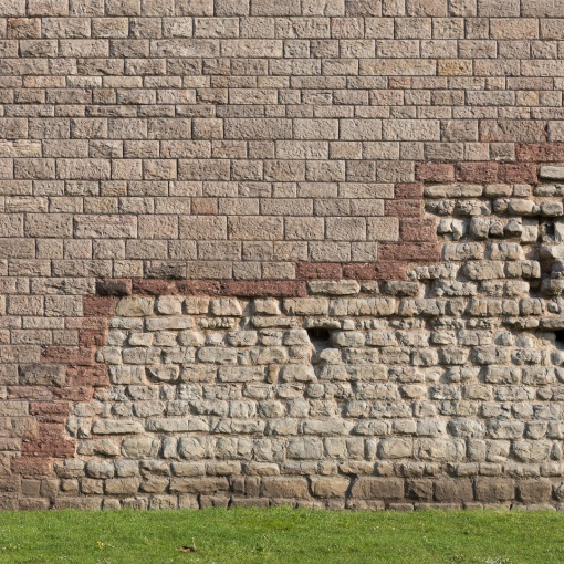 Cardiff Castle. Norman wall built on top of the original Roman fort.