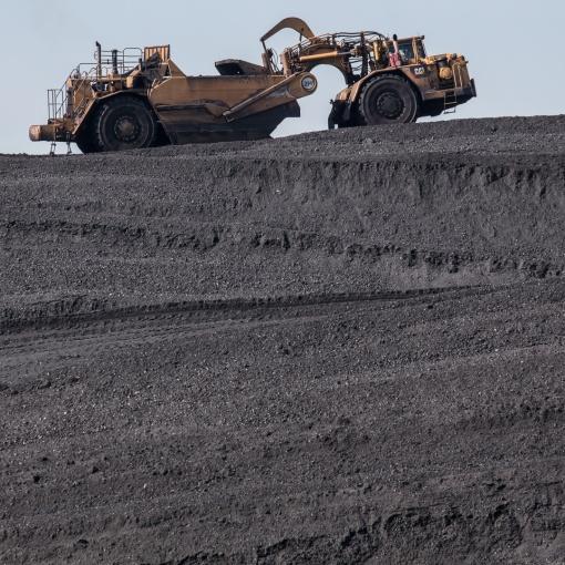 Coal Bowl Scraper on coal stockpile, Aberthaw Power Station, Glamorgan.