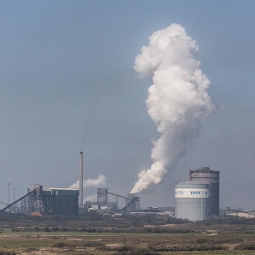 Coke ovens quenching, Tata Steelworks, Port Talbot, Glamorgan.