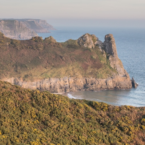 Great Tor & Gower headlands towards Swansea, Glamorgan.