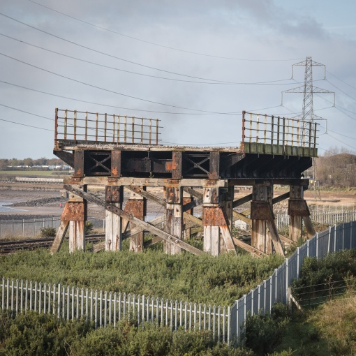 Bridge in a field. Section of the original wooden Loughor railway viaduct designed by Brunel in 1952. Dyfed