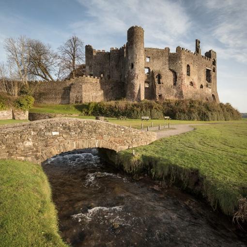 Laugharne Castle established in 1116, Dyfed.
