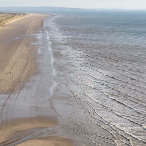 Pendine Sands where in 1924 Malcolm Campbell set a world land speed record of 146.16 mph in his Sunbeam 350HP car Blue Bird, Dyfed.