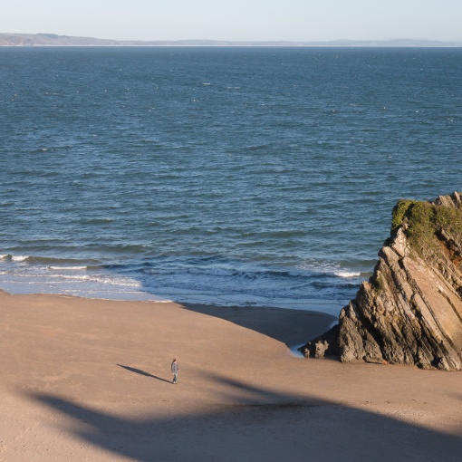 Winter Shadow at Gosker Rock, North Beach, Tenby, Dyfed.