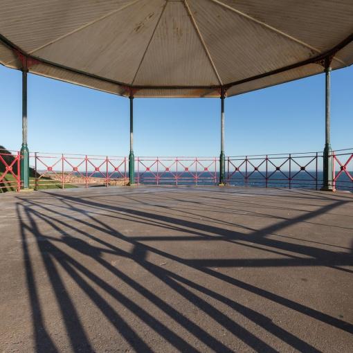 Winter light, Tenby bandstand, Dyfed.