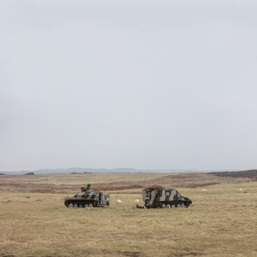 Old Spartan and Sultan armoured personnel carriers used as helicopter targets. Castlemartin range East, Dyfed
