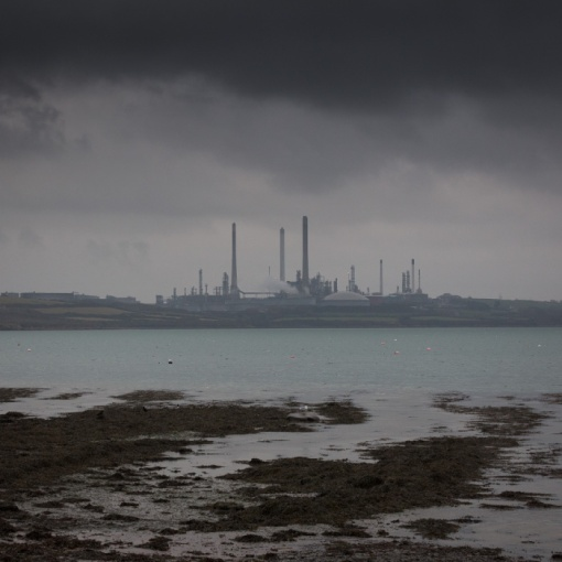 Pembroke Oil Refinery across Angle Bay, Rhoscrowther, Dyfed.